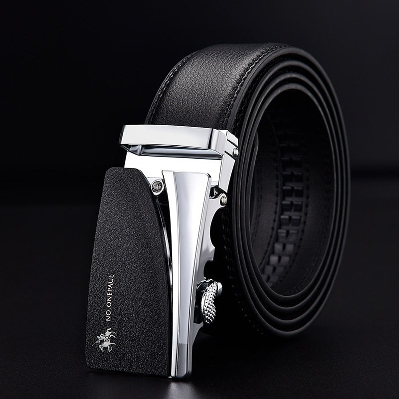 Men's Leather Strap Automatic Buckle Belt