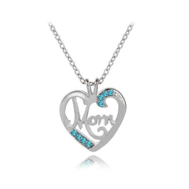 Fashion Heart Pendant Crystal Mom Necklace