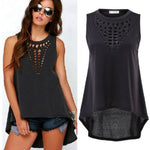 Women's Hollow Sleeveless Black O-neck Blouse