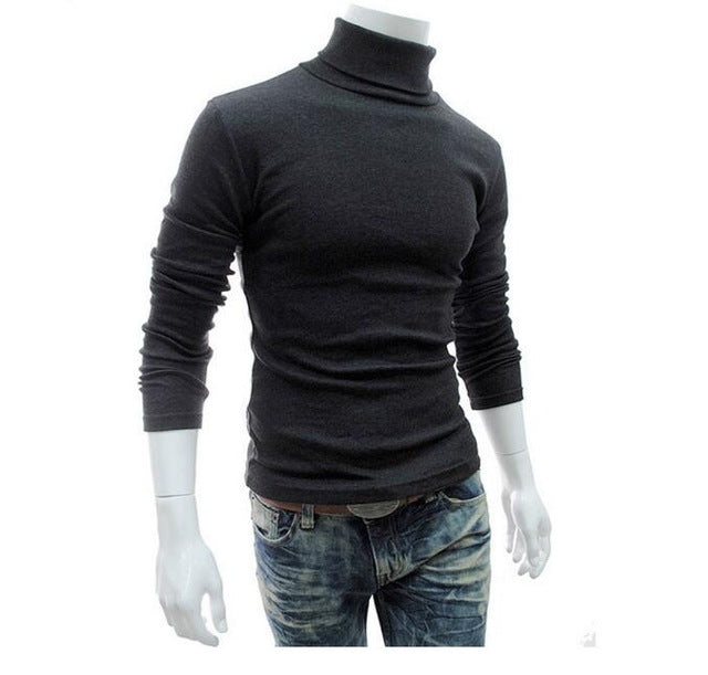 Red Men's Slim Fit Turtleneck Solid Color Casual Sweater