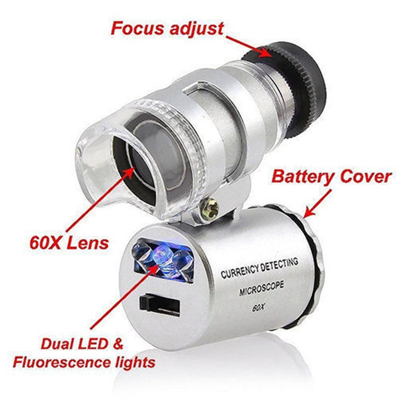 Mini 60x Magnification LED UV Jewelry Examination Microscope