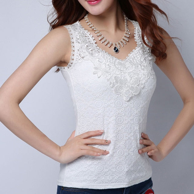 Women's Lace Elegant Sleeveless Blouse