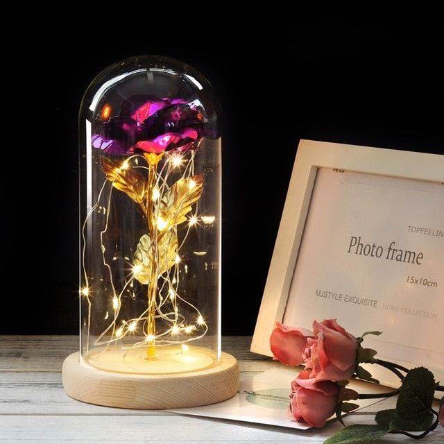 Decorative LED Eternal Gold Rose in Glass Dome