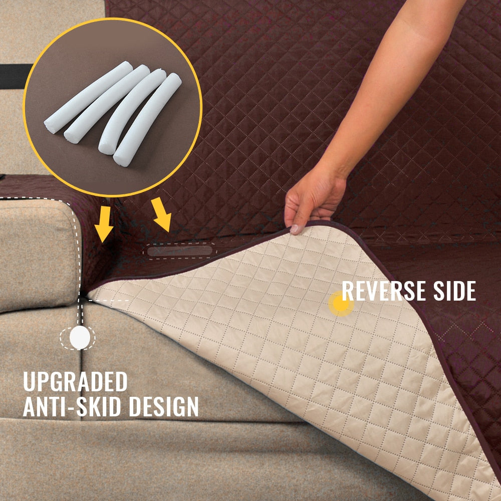 Quilted Reversible Waterproof Protective Sofa Cover with Pockets
