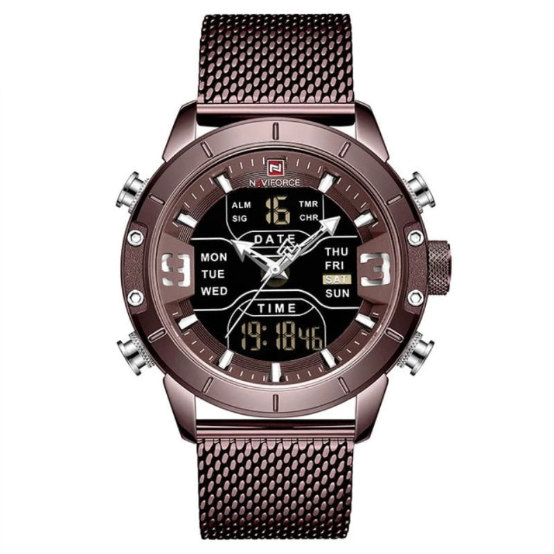 Brown Men's Analog Digital Stainless Steel Watch