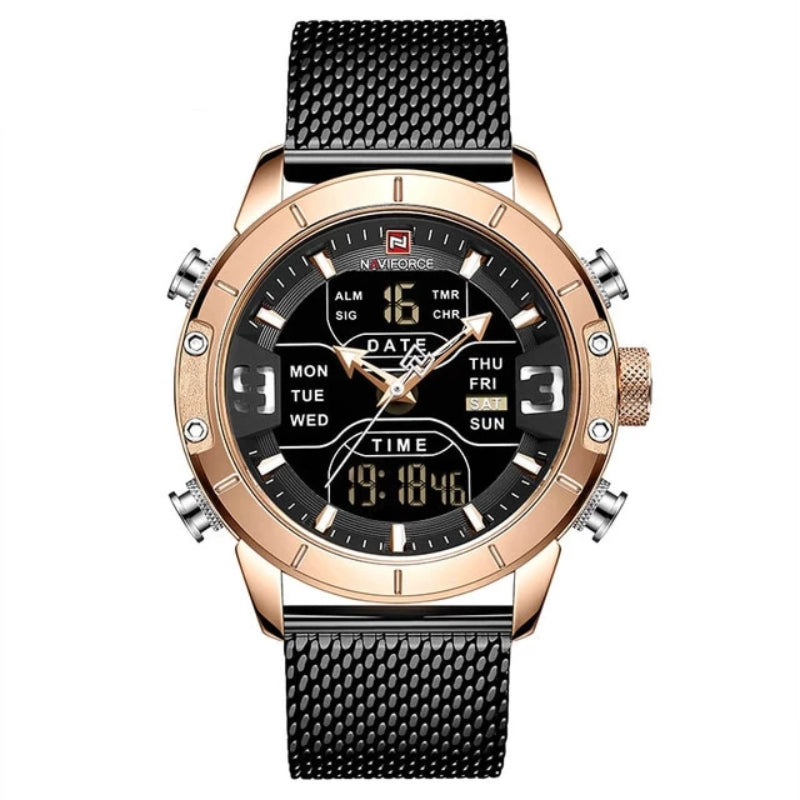 Black and Gold Men's Analog Digital Stainless Steel Watch