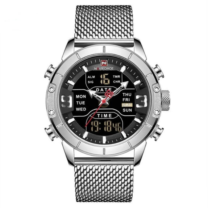 Silver Men's Analog Digital Stainless Steel Watch