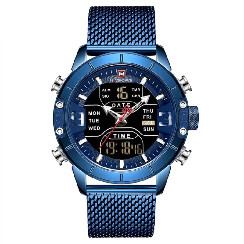 Blue Men's Analog Digital Stainless Steel Watch