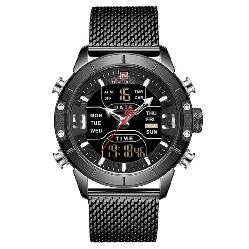 Black Men's Analog Digital Stainless Steel Watch