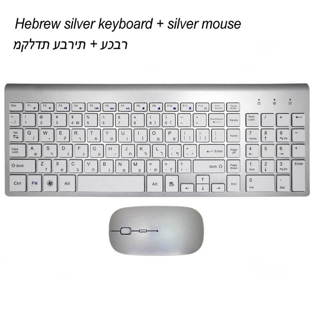 2.4GHz Wireless Ultra-Thin Keyboard and Mouse Combo for Mac Pc Win XP/7/10 TV