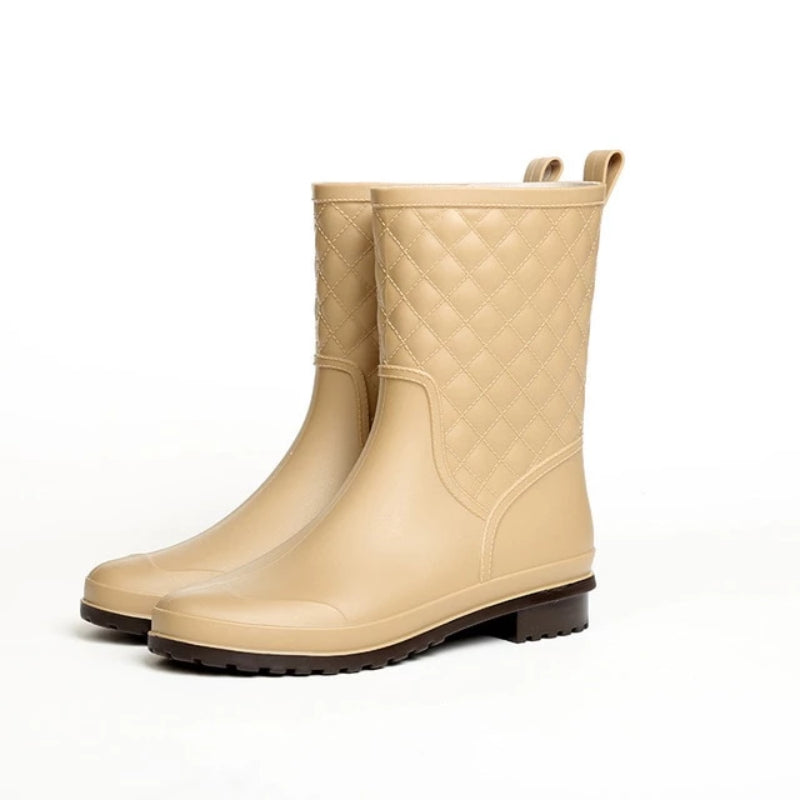 Women's Solid Rubber Waterproof Rain Boots