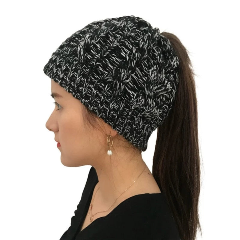 Women's Soft Knit Stretch Ponytail Beanie
