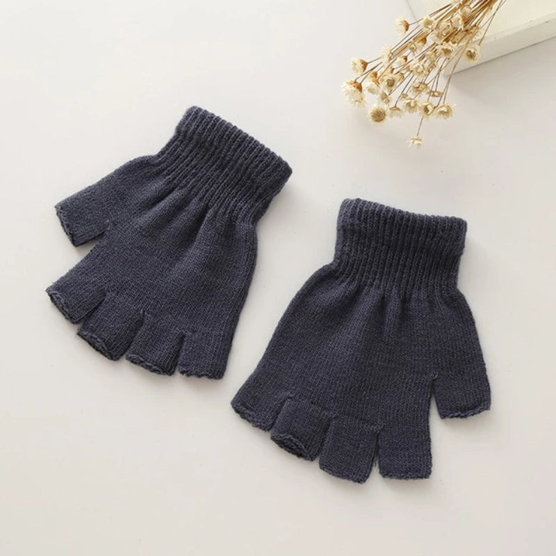 Back Women's Knitted Fingerless Gloves