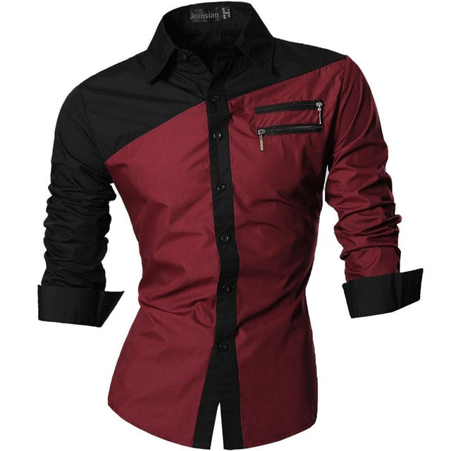 Men's Casual Long Sleeve Slim Fit Shirt with Zipper Decoration