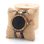 Men's Ebony Wooden Quartz Analog Wristwatch
