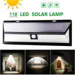 118 LED Solar Rechargeable Outdoor Waterproof - 3 Modes - Garden Light with Motion Sensor