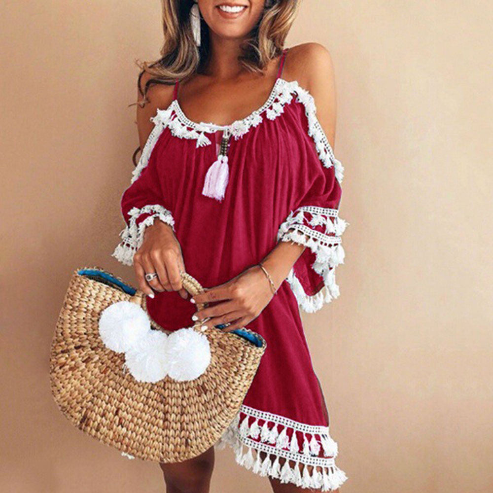 Women's Tasseled Off Shoulder Summer Part Dress