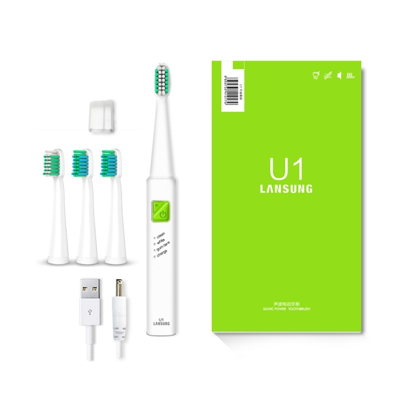 Ultrasonic Electric USB Rechargeable Toothbrush with 4 Replacement Heads