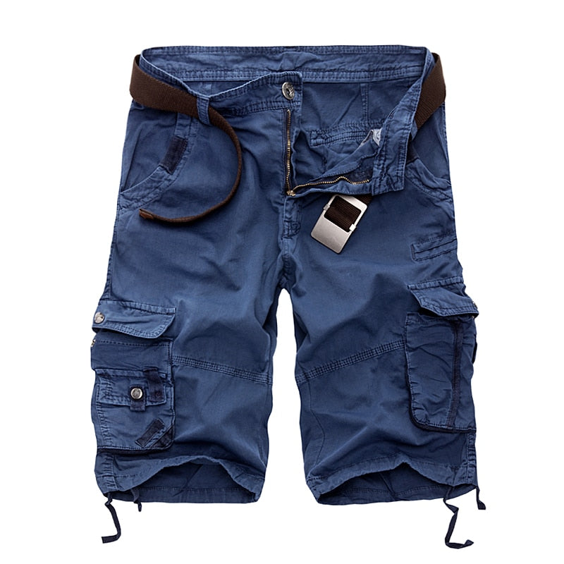Men's Cotton Military Cargo Shorts With Belt