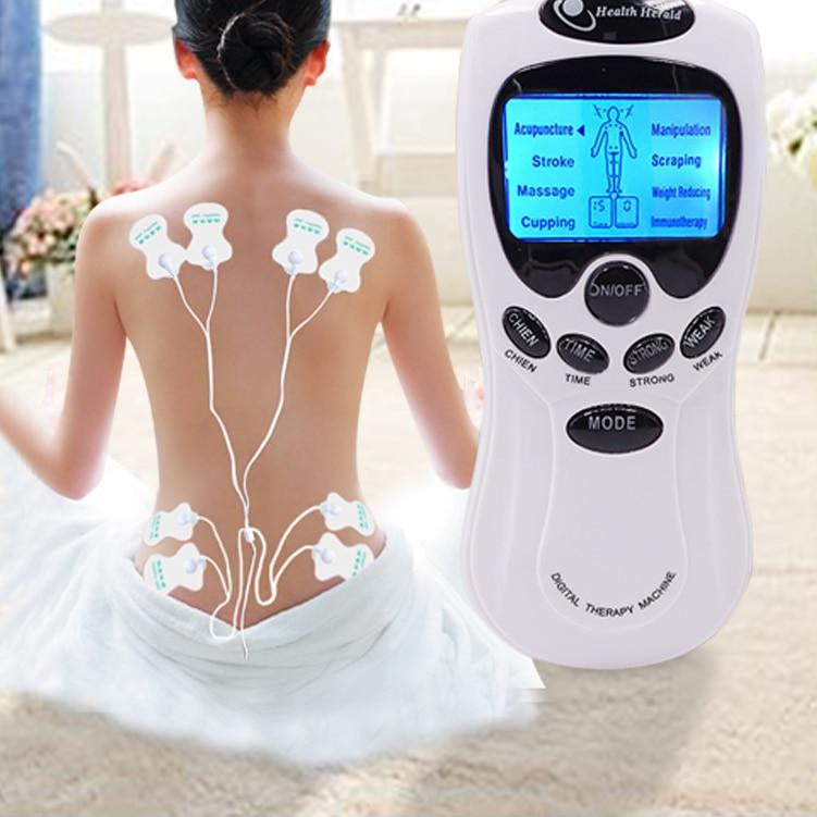 Electric 8 Pad Acupuncture Massage Therapy Device with Digital LCD Display