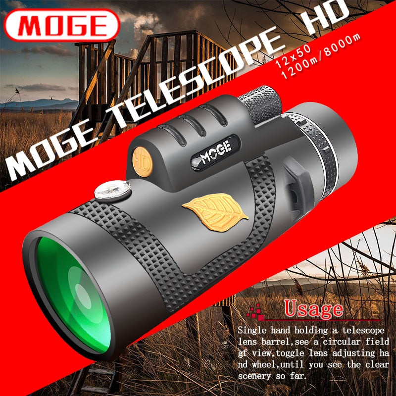 HD Military Monocular 12x50 Powerful Telescope with Night Vision