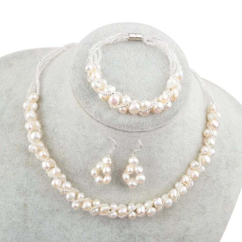White Freshwater Pearl Jewelry Sets