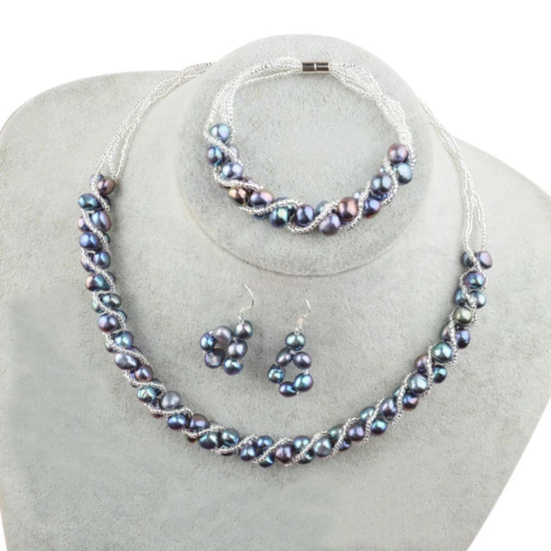 Blue Black Freshwater Pearl Jewelry Sets