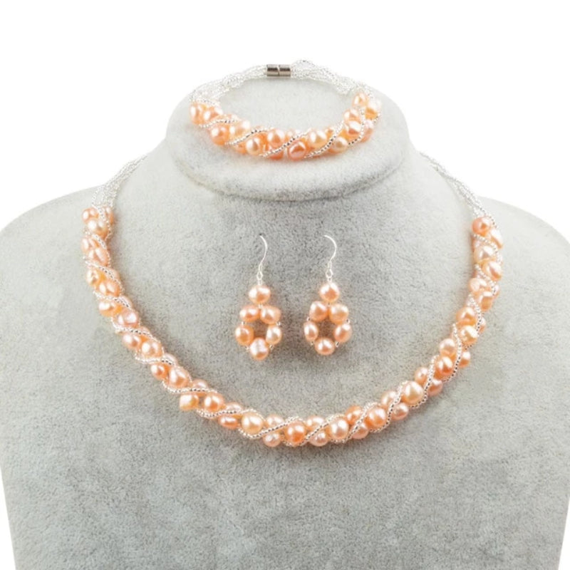 Orange Pink Freshwater Pearl Jewelry Sets