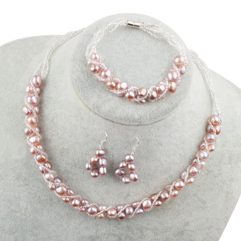 Purple Freshwater Pearl Jewelry Sets