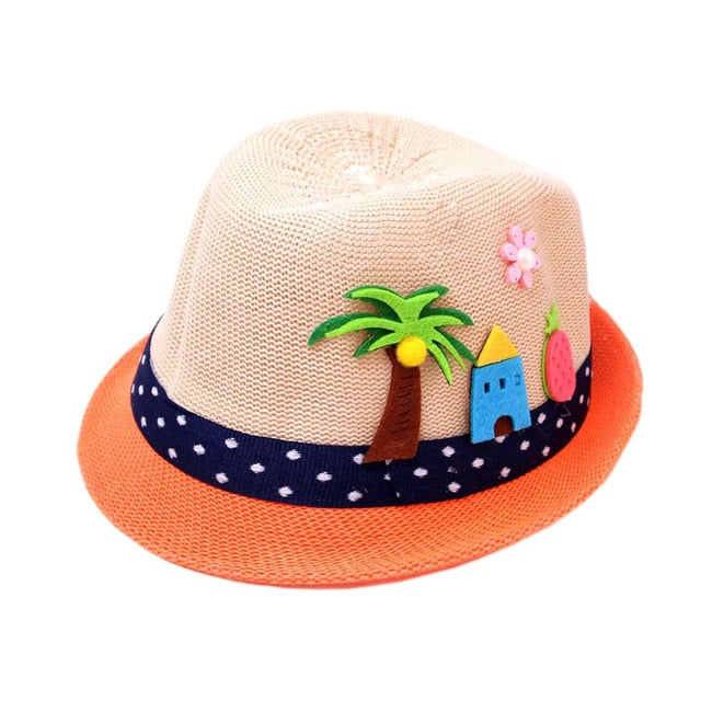 Toddler's Baby Cartoon Straw Beach Hat - 2-6Y