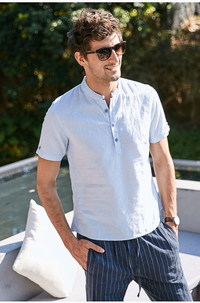 Men's Cool Button-Up Linen Comfort Beach Shirt