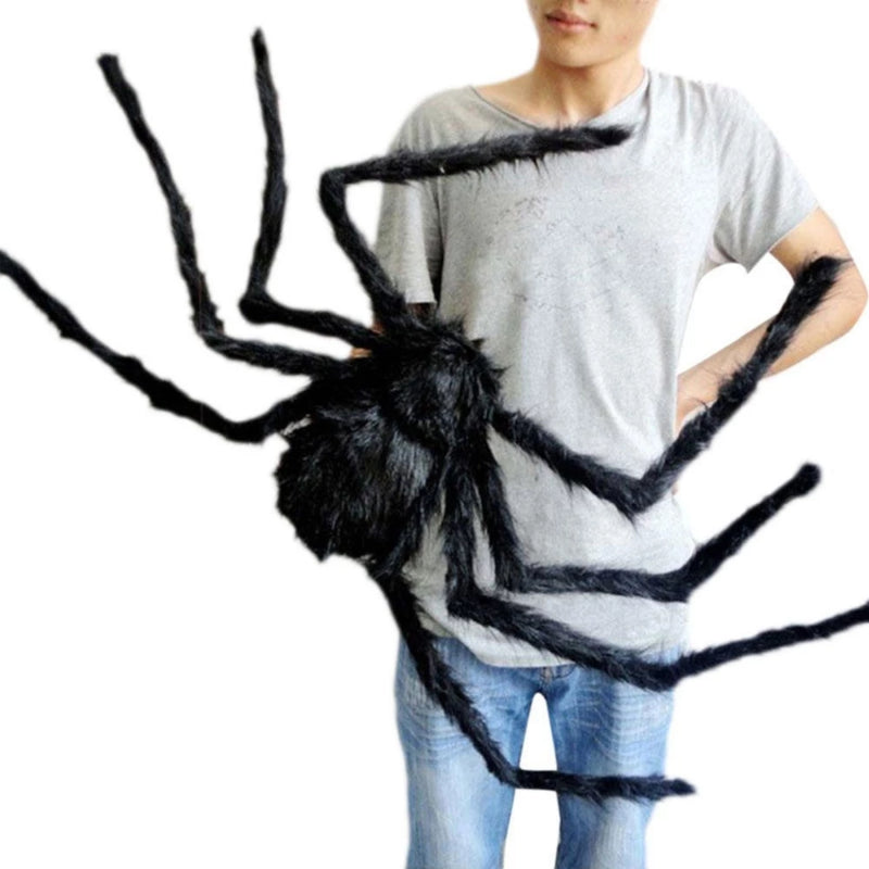 Halloween Plush Spider Decoration Shown in Different Positions