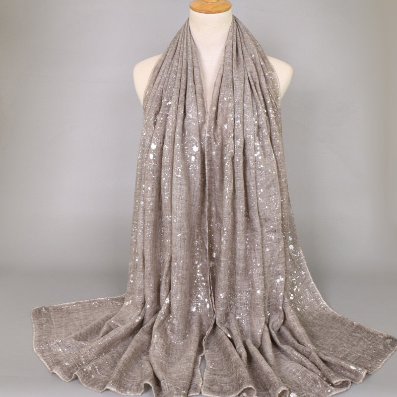 Plain Shimmer Silver Scarf