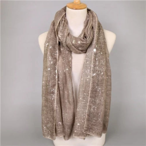 Women's Fashion Plain Shimmer Silver Scarf
