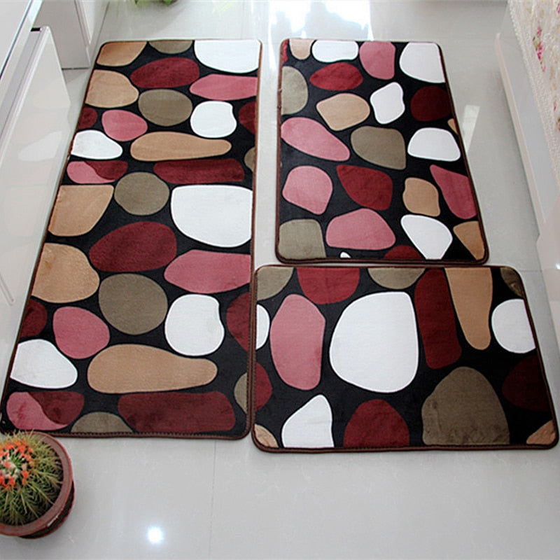 3 PC Soft Non-Slip Bath Mat Set