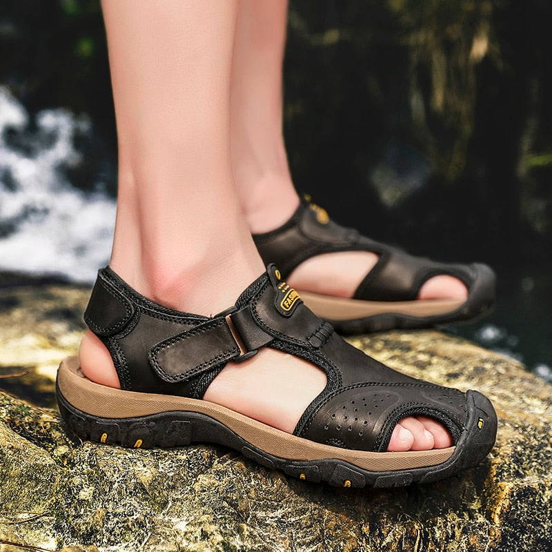 Men's Casual Leather Trekking Beach Sandals