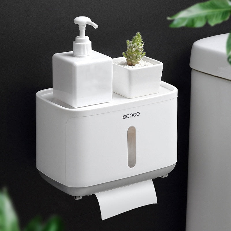 Gray Wall Mounted Waterproof Toilet Paper Holder