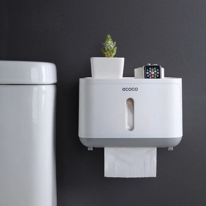Wall Mounted Waterproof Toilet Paper Holder with Water Being Splashed On It