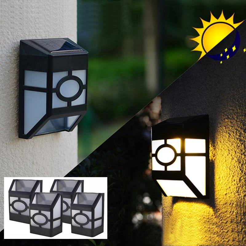 4 Pack: LED Solar Powered Wall Mounted Outdoor Waterproof Pathway Lights