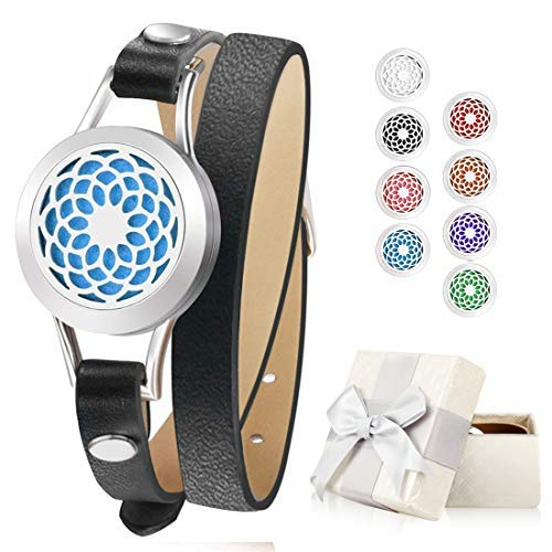 Stainless Steel Essential Oil Diffuser Leather Band Bracelet