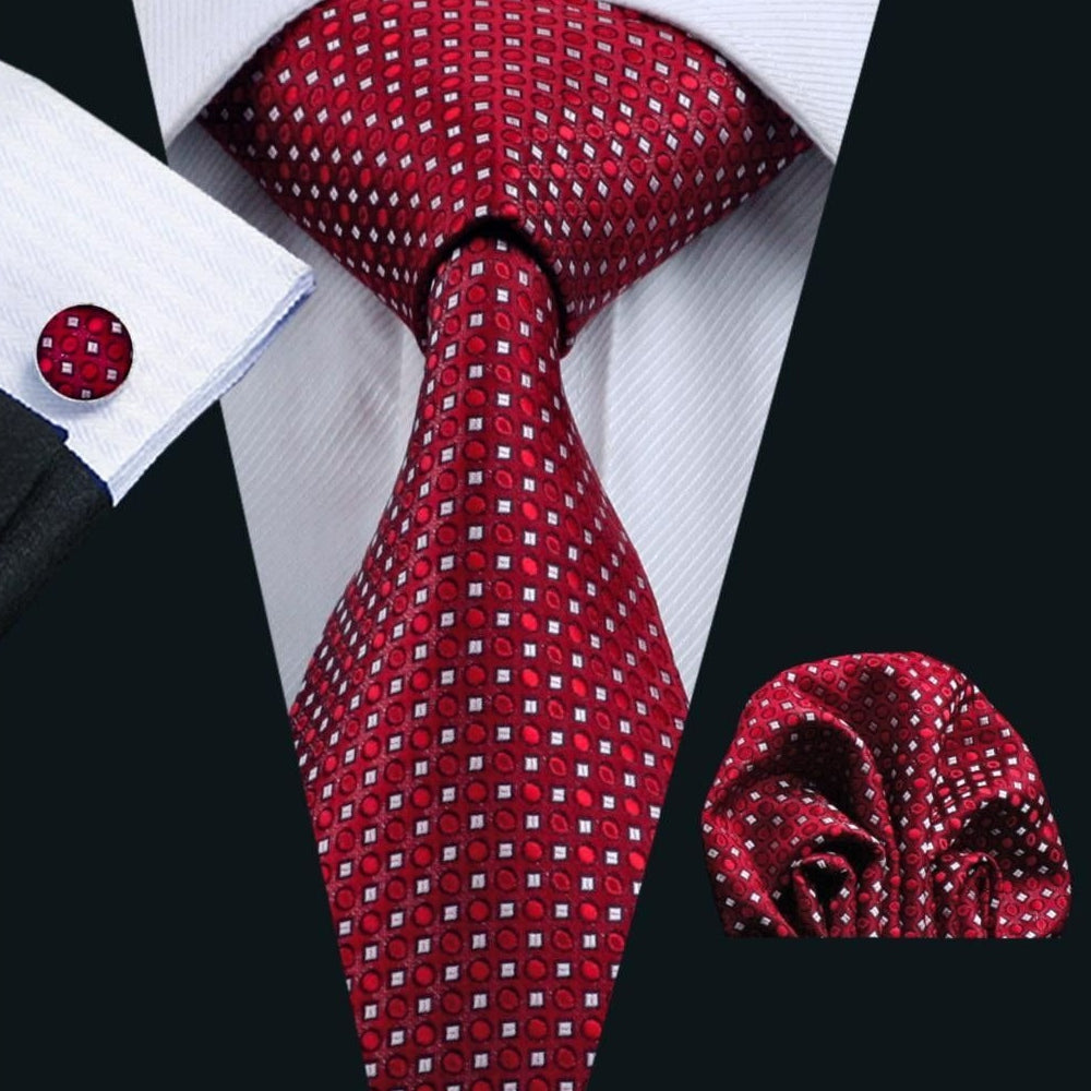 Men's Elegant Silk Woven Neck Tie Set
