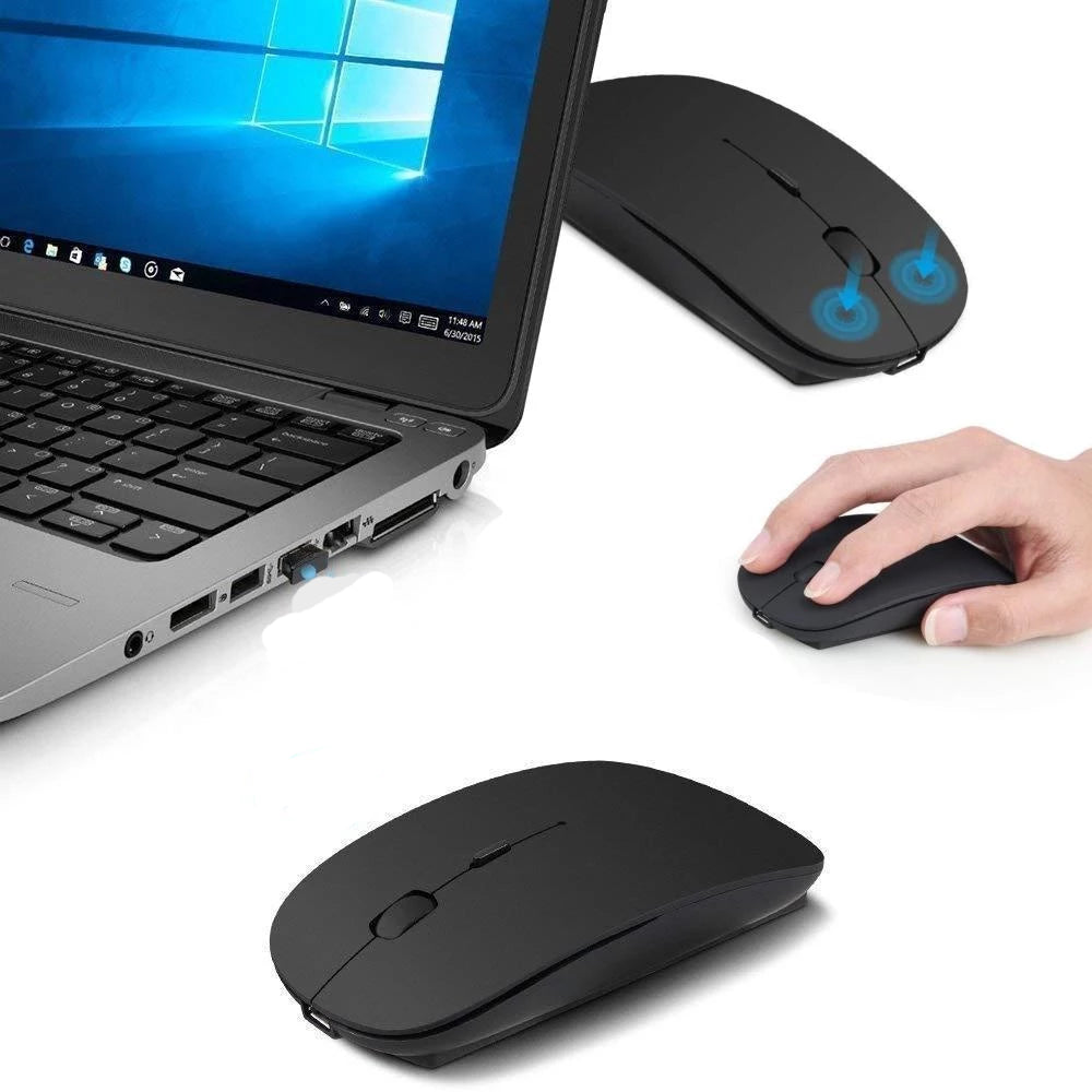Slim Rechargeable Quiet Click Wireless/Bluetooth Mouse