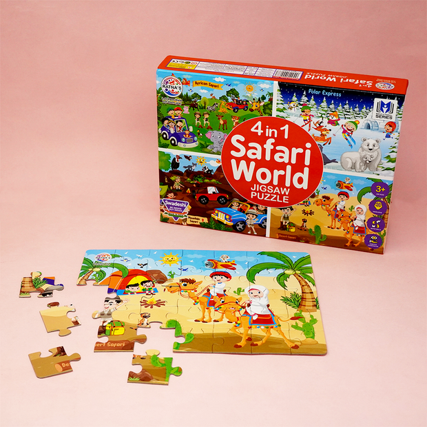 4 in 1 Safari Puzzle Game comes with a set of 4 tourist places- African Safari, Mountain Safari, Snowy Mountains and Deserts