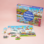 The 4 in 1 Transport Puzzle improves your kid's knowledge about the various transport and construction vehicles that carry our economy