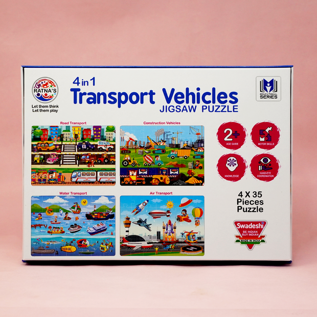 The Transport Vehicles Puzzle Game consists of 4 puzzle sets- Road Transport Vehicles, Construction Vehicles, Water Transport Vehicles and Air Transport Vehicles