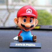 Super Mario Bobblehead Action Figure Car Decoration with Phone Stand