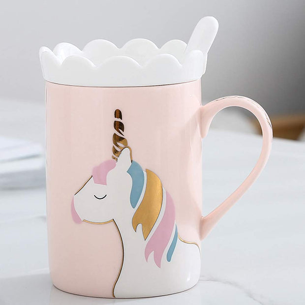 This unicorn mug comes with a cookie holder that can be used as lid.