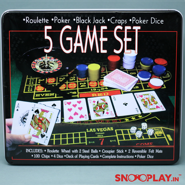 5 in 1 Casino Game Set, Poker, blackjack, cards, dice, roulette, chips