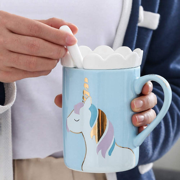 The Unicorn Mug with Cookie Holder and Spoon is the perfect gift for kids who love unicorns.