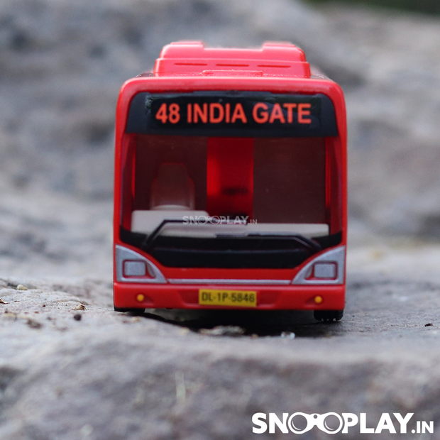 Low Floor Bus (Pull Back Toy Bus) with Complimentary Jute Pouch